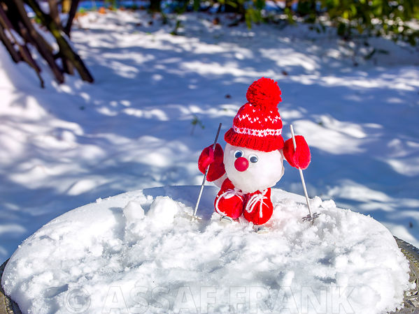 Cute little Christmas snowman with ski on table covered with snow
