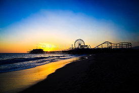 Santa Monica Pier Pacific Ocean Sunset