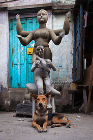 A stray dog in Kumartoli on a straw pile among clay idols being made for the Durga Puja festival.