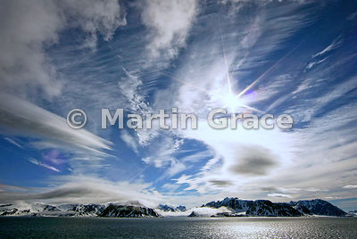 Spitsbergen landscape with snow, ice, sea and clouds, Albert I Land, Svalbard, Arctic Norway