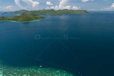 Aerial view of lines of Oyster cages at Pearl farm, Jewelmer Pearlfarm, Palawan, Philippines, May 2009, cultured Golden South...