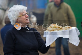 Food being offered at the meet - The Cottesmore Hunt at the Blue Ball 11/12