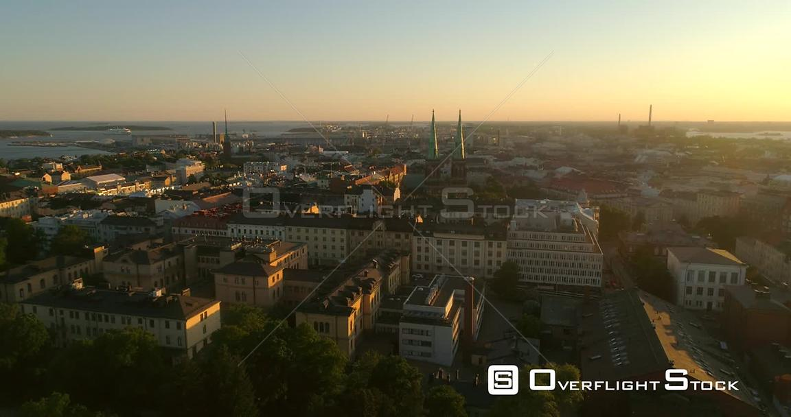 Helsinki Cityscape, Aerial Decreasing Tilt View of Punavuori and Saint John Church, in the City of Helsinki, on a Sunny Summe...