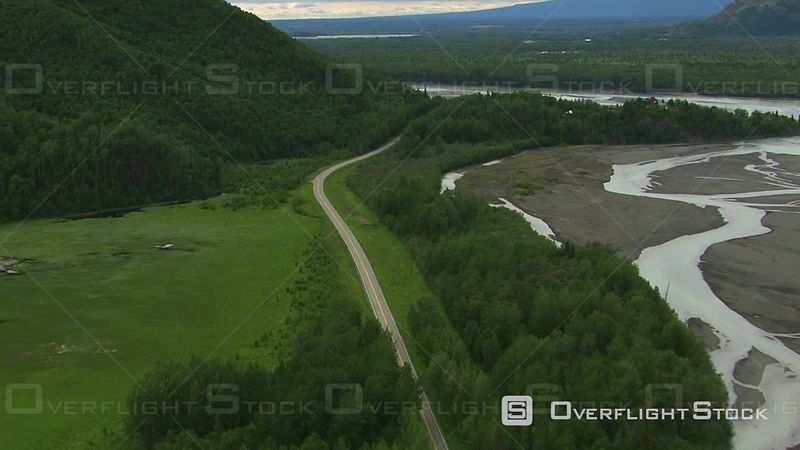 Aerial Footage of Alaska Nature and Roadway
