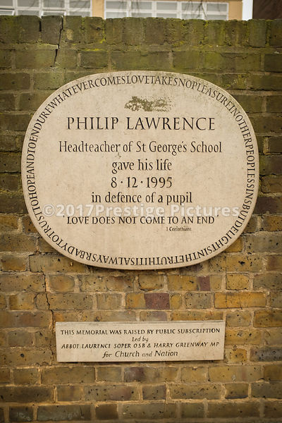 Plaque Commemorating the life of headmaster Philip Lawrence