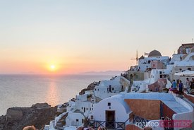 Sunset over the greek island of Santorini, Greece