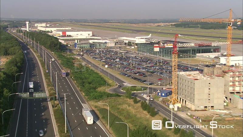Flying past airport in city of Liege, Belgium