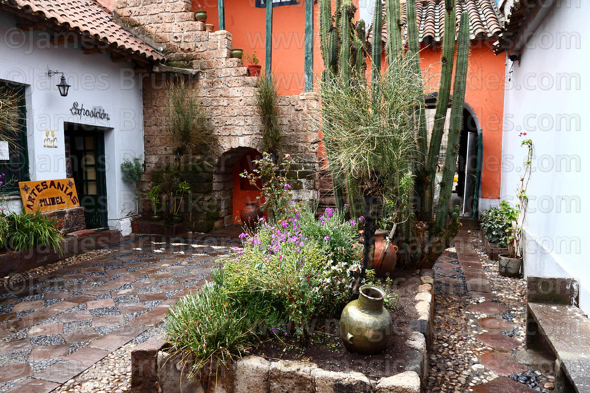 Colonial courtyard of historic Casa del Corregidor, Puno , Peru