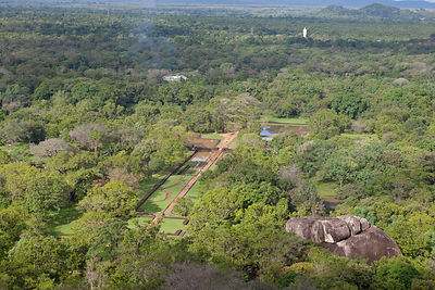 View of gardens, forest and Buddha statue from Sigiriya rock, Sri Lanka, December 2012.