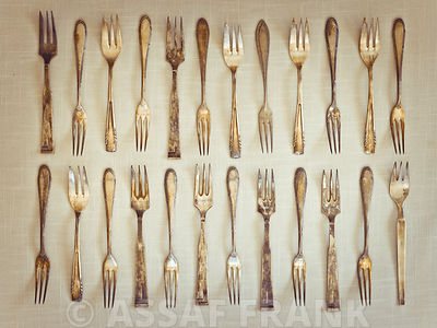 Old fashioned silver knives and forks