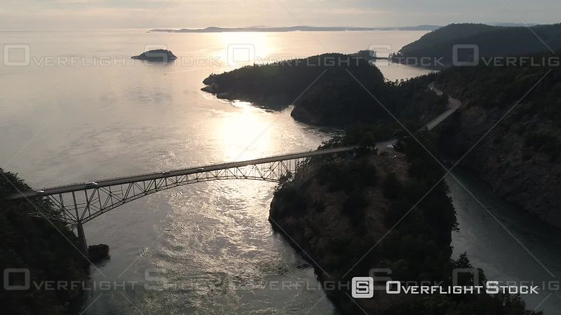 Washington State with San Juan Islands of Puget Sound in the background of Deception Pass bridge