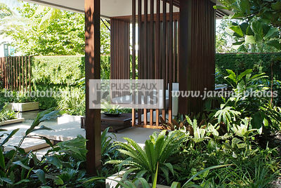 Asiatic garden, Contemporary furniture, Contemporary garden, Exotic garden, Garden construction, Garden furniture, Resting ar...