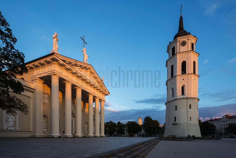 Vilnius Cathedral and the Belfry at Sunset (Church of St John is in the Background)