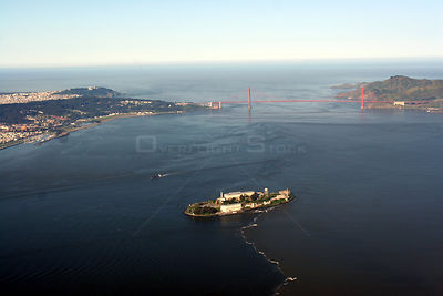 Aerial view of Alcatraz, San Francisco Bay, USA, April 2006.