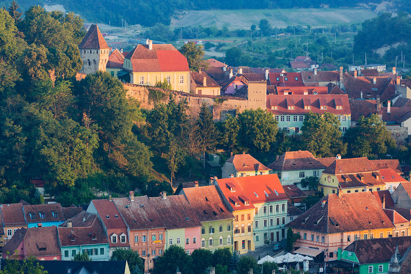 Skyline of Sighisoara at Sunrise