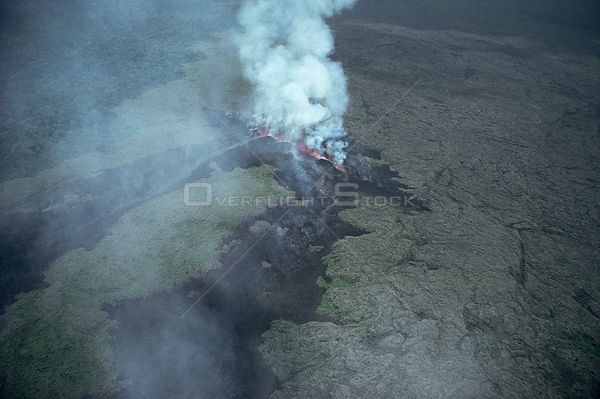 Aerial view of volcanic fissure - the birth of Kimanura volcano, Virunga NP, Democratic Republic of Congo, formerly Zaire