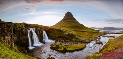 Mount Kirkjufell and its waterfalls at sunset, Snaefellsnes, Iceland