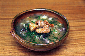 Chairo, a typical Bolivian meat and vegetable soup topped with pork scratchings, Bolivia
