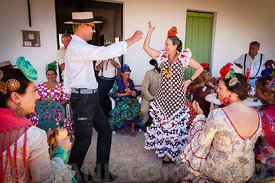 Flamenco style dancing at the El Rocio romería,  2012