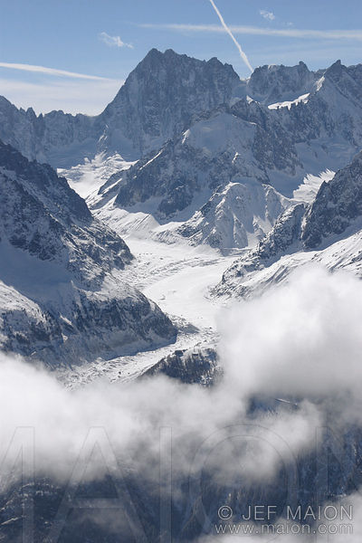 Mer de Glace and Grandes Jorasses in winter