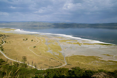 Aerial view of Lake Nakuru, Nakuru National Park, Kenya, February 2003.