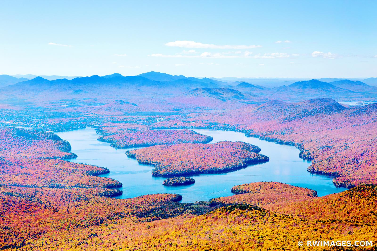 LAKE PLACID VIEW FROM WHITEFACE MOUNTAIN ADIRONDACK MOUNTAINS UPSTATE NEW YORK FALL AUTUMN COLORS