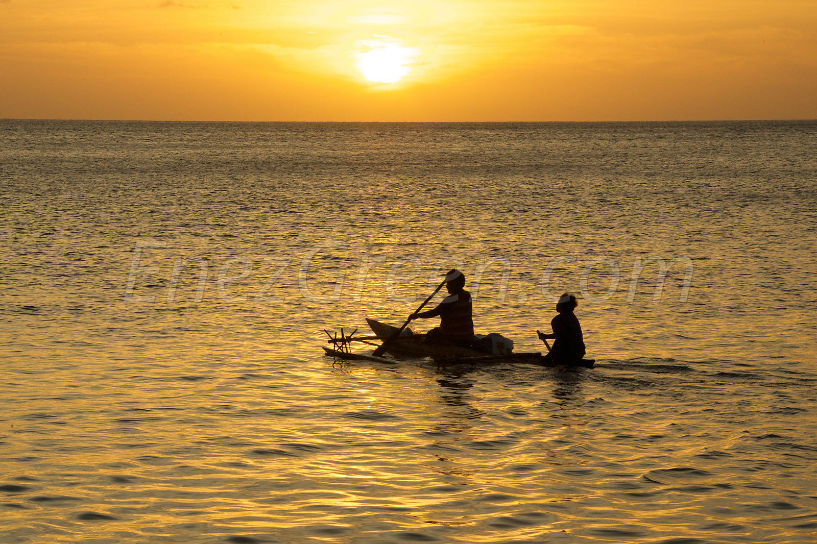Sunset and canoe Vanua Lava