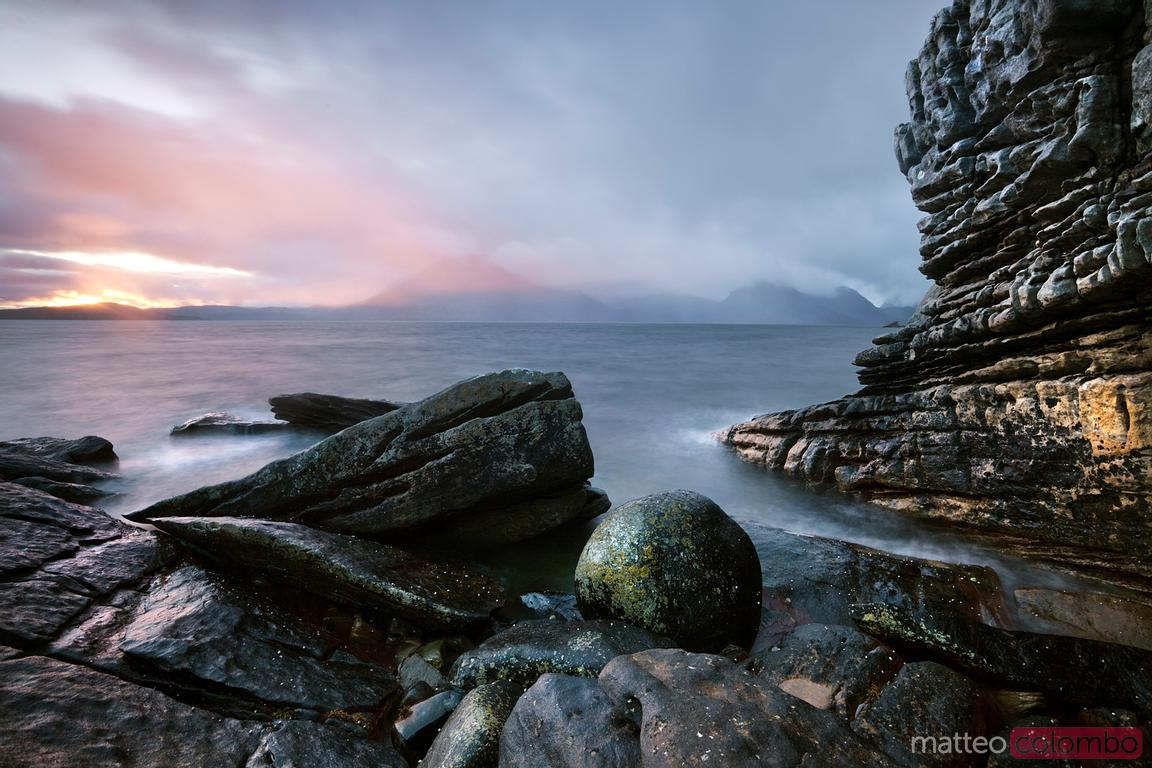 Classic sunset at Elgol beach isle of Skye Scotland UK