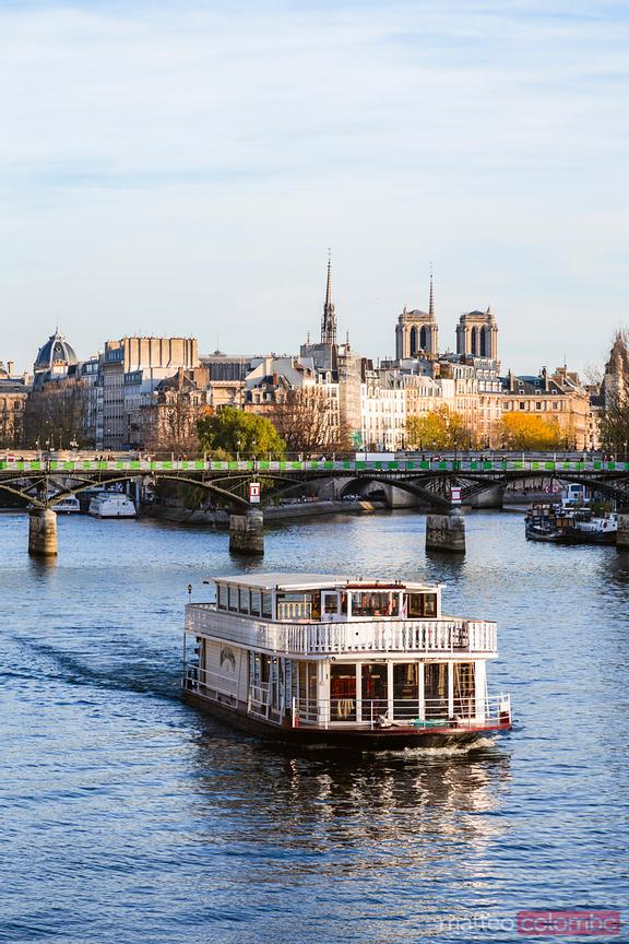 River Seine with Bateau Mouche, Ile de la Cite, Paris, France