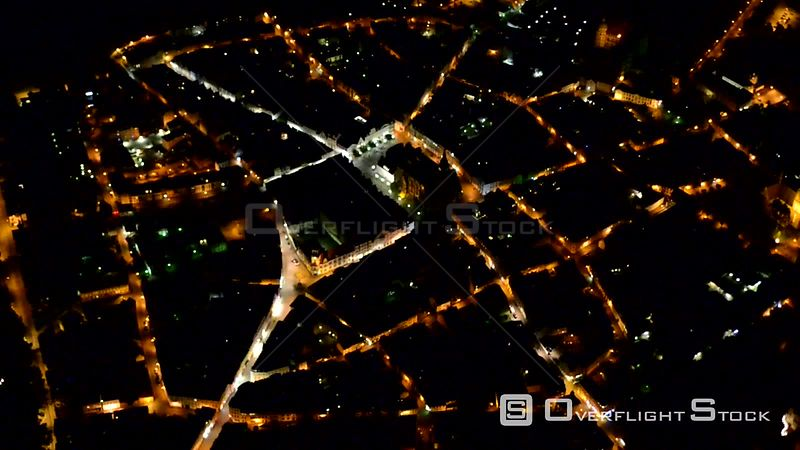 Night over the old town area and inner city center in Güstrow in the state Mecklenburg-Vorpommern, Germany