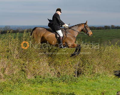 Harry Westropp jumping a hedge near Clawson Thorns