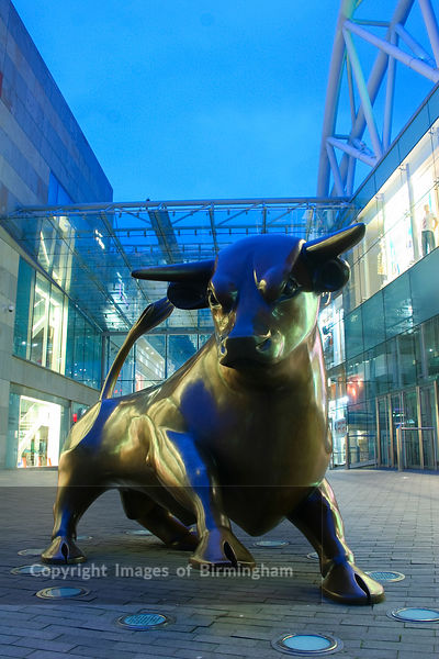 Bullring Shopping Centre at night in Birmingham City Centre.  Pictured is the Bullring Bronze Bull.