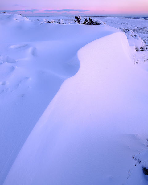 Bank of snow in twilight - Haytor, Bovey Tracey, Devon UK