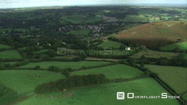 Aerial view of Chagford, Dartmoor National Park, Devon, England, UK, October 2015.