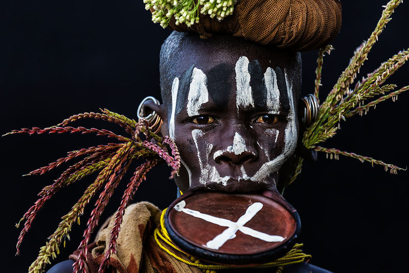 Portrait of an Adorned Surma Woman