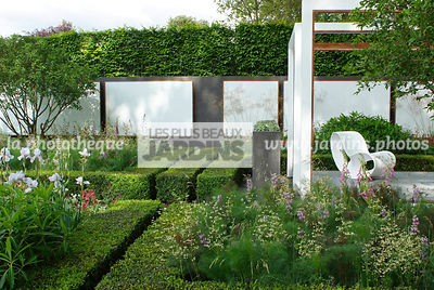 Buxus, Contemporary garden, Digital, Garden furniture, Hedge, Low hedge, Pergola, Resting area, Common Box
