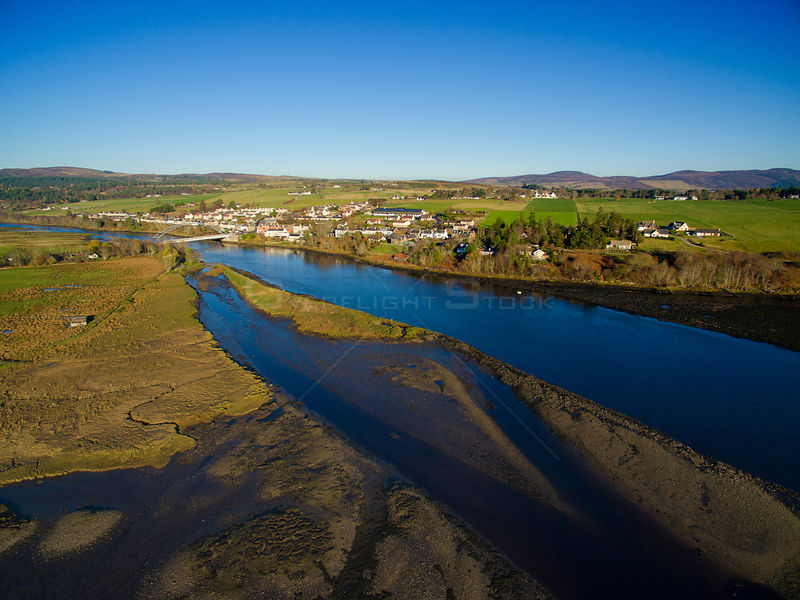 Aerial drone image of the Kyle of Sutherland at Bonar Bridge Sutherland Scotland UK