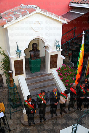 The Bolivian vice president Alvaro Garcia Linera and other officials at the start of ceremonies for the reading of the Proclamation of the Junta Tuitiva in Casa de Murillo (the former home of Pedro Domingo Murillo), La Paz, Bolivia