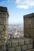 A view of the city of Naples, Italy from the battlements of the Castel Nuovo, Naples