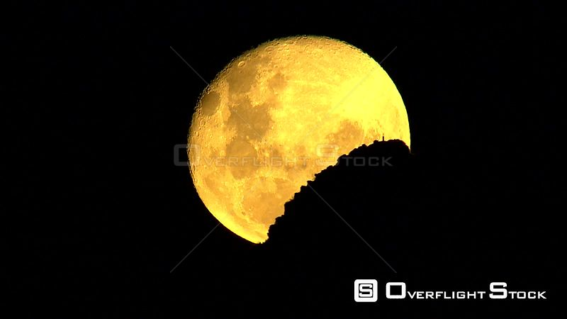 Aerial shot of a Super Moon shining brightly in the night sky. Western Cape South Africa