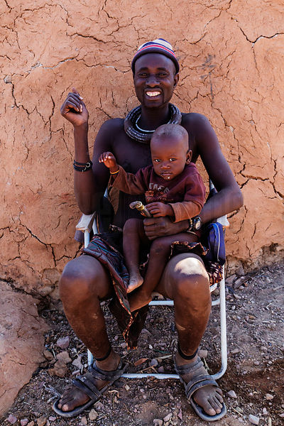 Portrait of a Himba Man and a Child
