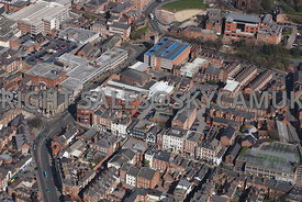 Chester aerial photograph over looking Lower Bridge Street towards Pepper Street