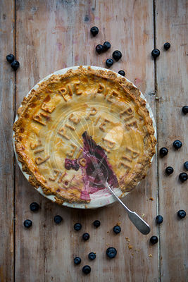 Fruit Pie with Slice Removed & Spoon