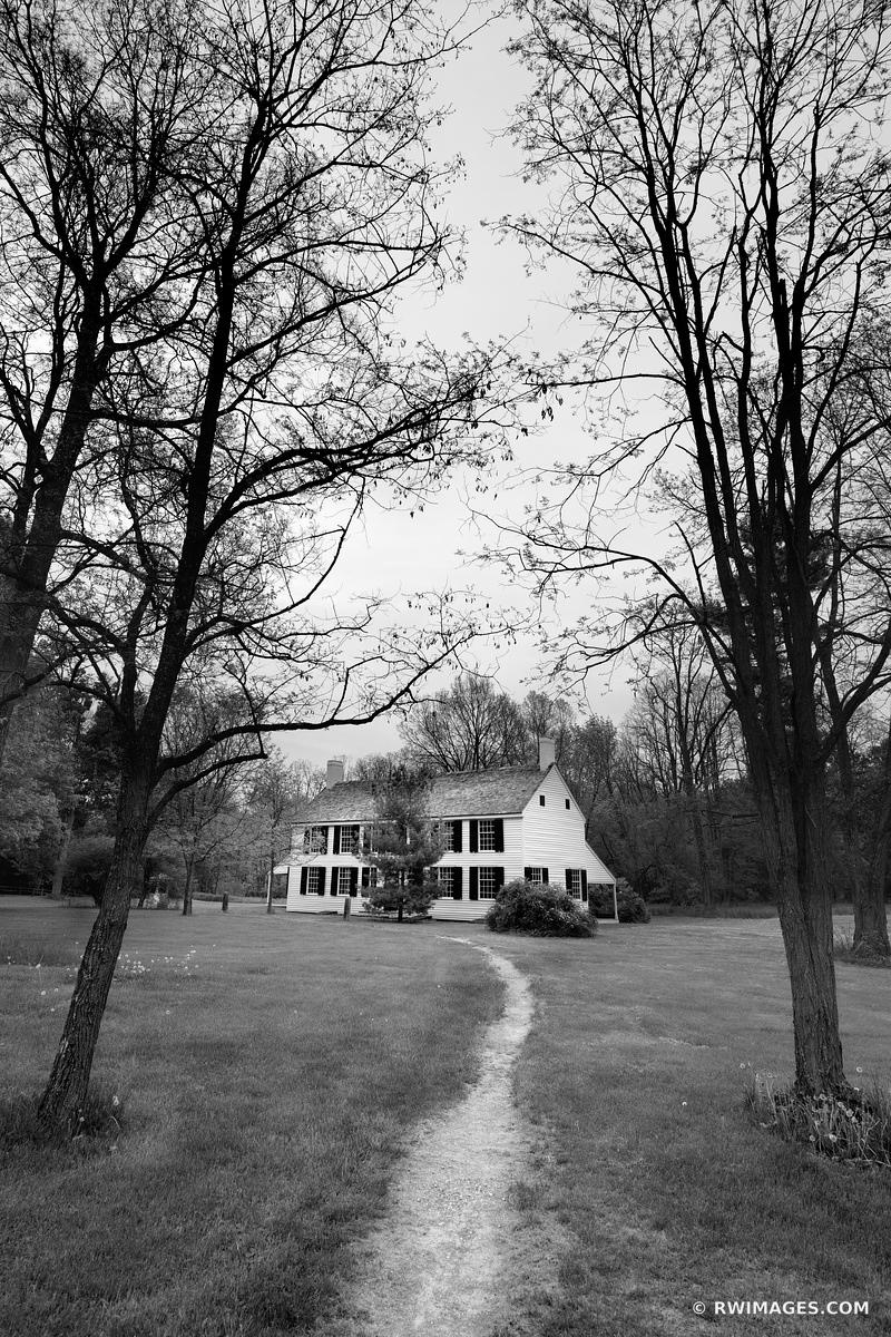 SCHUYLER HOUSE SARATOGA NATIONAL HISTORICAL PARK NEW YORK BLACK AND WHITE VERTICAL