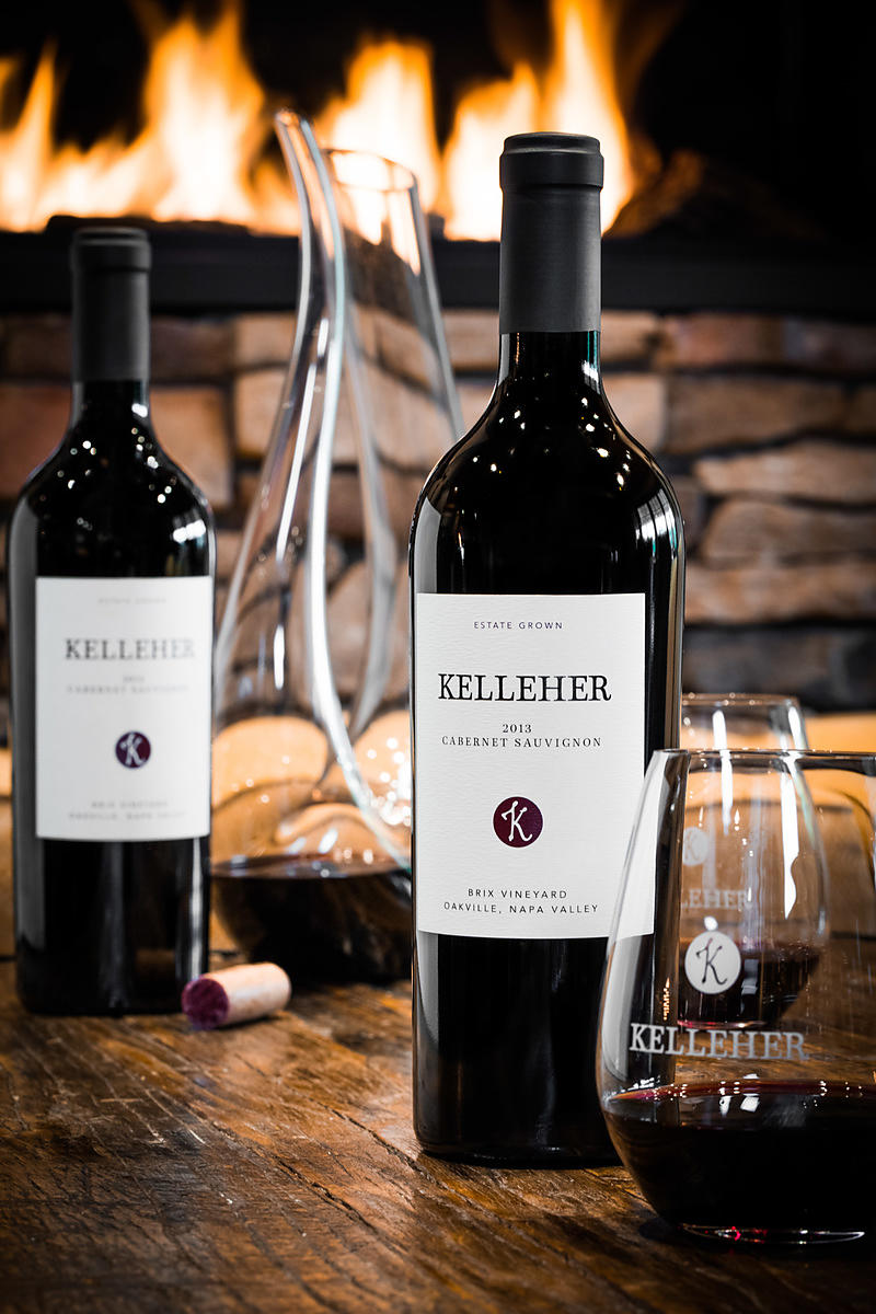 Styled wine bottle photos for Kelleher Family Wines at Brix Restaurant in Yountville, California
