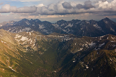 Aerial view of the end of Ticha valley and the High Tatras with Mount Krivan (2,495m) on the right and Mount Gerlach (2,655m)...