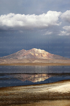 Lake Chungará, Cerro Quisi Quisini and dramatic stormy skies, Lauca National Park, Region XV, Chile