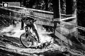 Charlie Harrison on the downhill track of Crankwork Innsbruck, 2017.