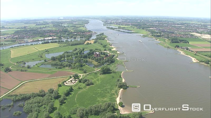Flying above the Waal River near Loevestein Castle, The Netherlands