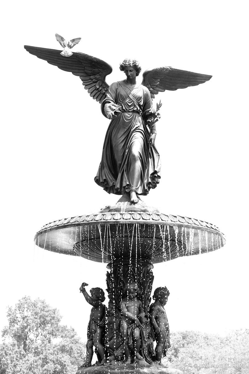BETHESDA FOUNTAIN CENTRAL PARK MANHATTAN NEW YORK CITY BLACK AND WHITE VERTICAL
